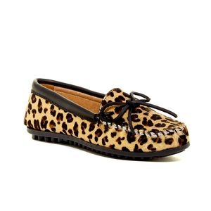 Minnetonka Full Leopard Genuine Calf Hair Moccasin